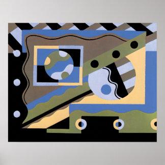 Vintages Kunst-Deko Pochoir Jazz-Kubismus-Muster Poster