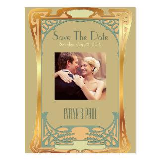 Vintages Kunst-Deko Save the Date ~ Gatsby Postkarte
