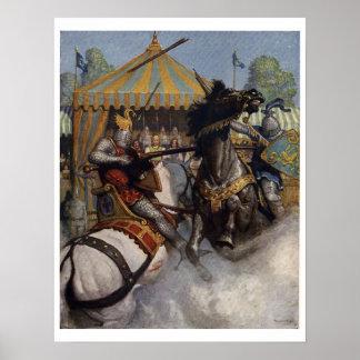 Vintages Kunst-Druck-Plakat König-Arthur Series 6 Poster