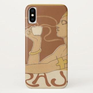 Vintages Kunst Nouveau Café Rajah, Dame Drinking iPhone X Hülle