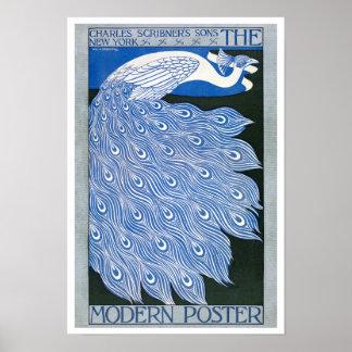 Vintages Kunst Nouveau Werbungs-Plakat - Pfau Poster