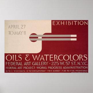 Vintages Kunstausstellungs-Plakat Poster