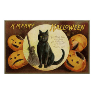 Vintages Kürbis-Partyplakat schwarzer Katze Poster