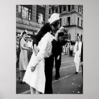 Vintages küssendes Couple.Hug Kuss-Plakat Poster