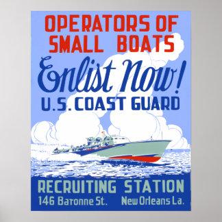 Vintages Küstenwache-einziehenplakat Poster