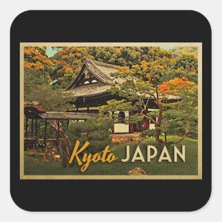 Vintages Kyoto Japan Quadrataufkleber