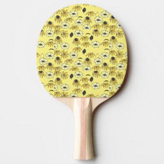 Vintages Land Blumenmélange hellgelbes Schwarzes Tischtennis Schläger
