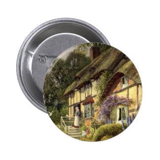 Vintages Land-Hütten-Bett - und - Frühstück Runder Button 5,1 Cm