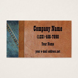 Vintages Leder der blauen Jeans Visitenkarte