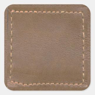 Vintages LEDERNES Blick-Druck-Ende: Schablone Quadratischer Aufkleber