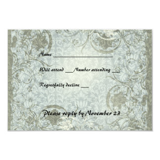 Vintages Liebe-Gedicht-blaues Grau-Damast-uAwg 8,9 X 12,7 Cm Einladungskarte