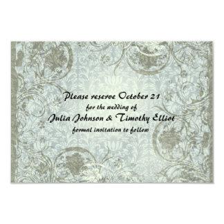 Vintages Liebe-Gedicht-blaues Grau Save the Date 8,9 X 12,7 Cm Einladungskarte