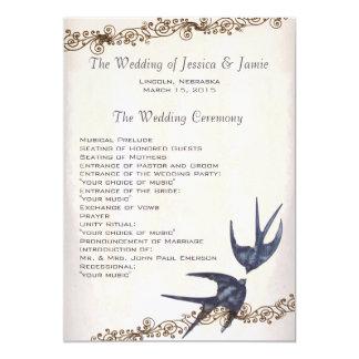 Vintages Liebe-Vogel-Marine-Hochzeits-Programm Karte