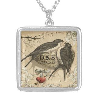 Vintages Liebe-Vogel-Nest-französisches Halskette Mit Quadratischem Anhänger