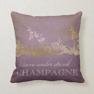 Vintages lila Spitze-Gold retten Wasser-Getränk Kissen