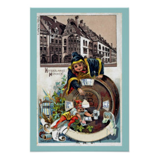 Vintages Litho 1905 Hofbrauhaus München Posterdrucke