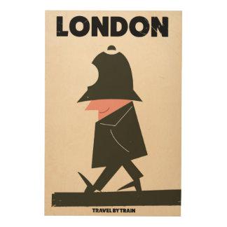 Vintages London-Polizistreiseplakat Holzdruck
