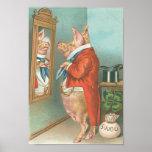 Vintages lustiges Geld-Schwein Plakatdrucke