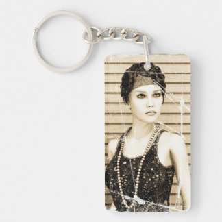 Vintages Mädchen, alter Foto-Effekt Schlüsselanhänger