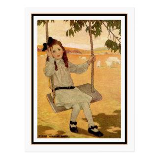 Vintages Mädchen auf Schwingen durch Jessie Postkarte