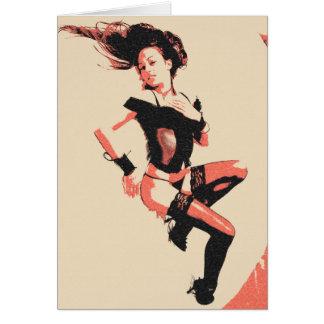Vintages Mädchen, Glamourfrau, die sexy Wäsche Karte