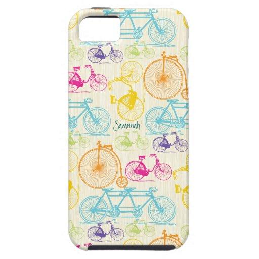 Vintages Mädchen-helles Farbfahrrad-Muster Iphone  iPhone 5 Schutzhüllen
