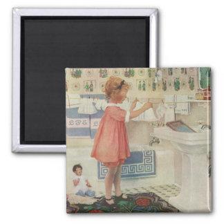 Vintages Mädchen, Kind, das Wäscherei-hängende Quadratischer Magnet