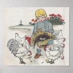Vintages Mädchen mit Hühnern, E ist ein Ei Plakate