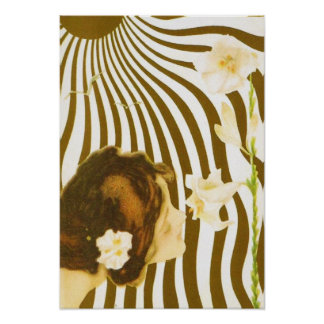 Vintages Mädchen mit Sun und Blumen-Plakat