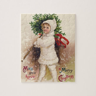 Vintages Mädchen mit Weihnachtsbaum, Ellen Puzzle