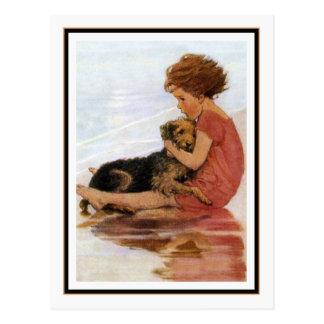 Vintages Mädchen und Hund durch Jessie Willcox Postkarte