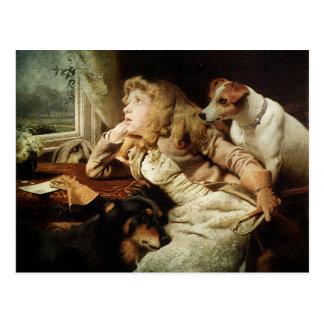 Vintages Mädchen und zwei Hunde Postkarte