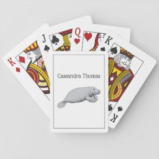 Vintages Manatis-Zeichnen Spielkarten
