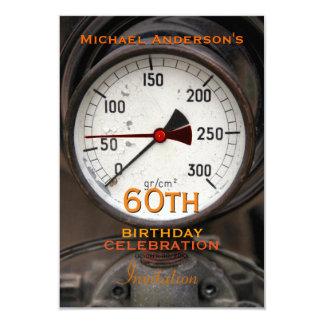Vintages Manometer-60. Geburtstags-Feier 8,9 X 12,7 Cm Einladungskarte
