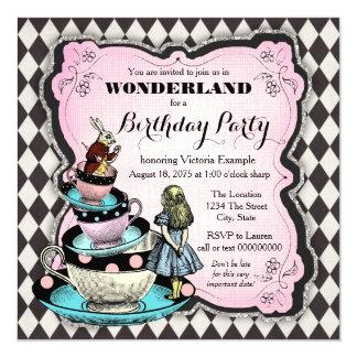 Vintages Märchenland-Geburtstags-Party Quadratische 13,3 Cm Einladungskarte