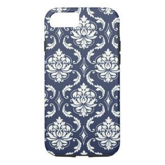 Vintages Marine-Blau-weißes Damast-Muster iPhone 7 Hülle