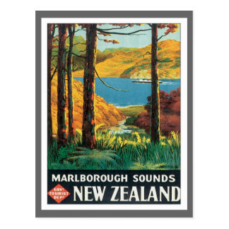 Vintages Marlborough klingt Neuseeland Postkarte