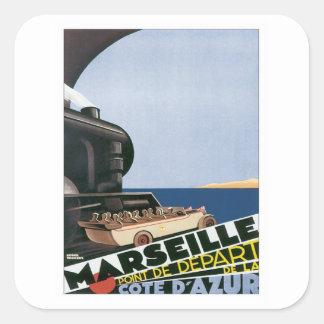 Vintages Marseille Cote d'Azur Quadratischer Aufkleber