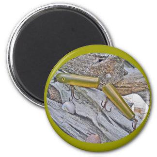 Vintages Masterlure verband Aal-Salzwasser-Stecker Runder Magnet 5,1 Cm