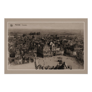 Vintages Mechelen Malines Panorama Poster