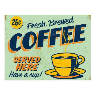 Vintages Metallzeichen - frischer gebrauter Kaffee Postkarte