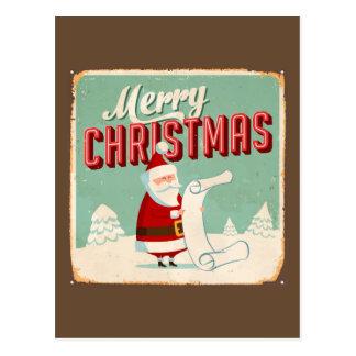 Vintages Metallzeichen - frohe Weihnachten Postkarte