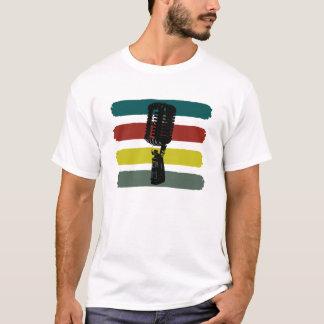 Vintages Mikrofon und Streifen-Shirt T-Shirt