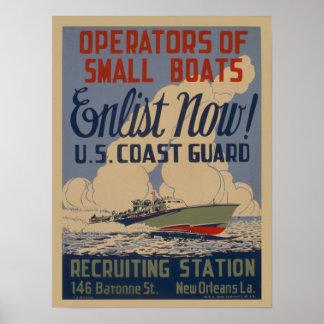 Vintages Militäreinziehenplakat der Küstenwache Poster