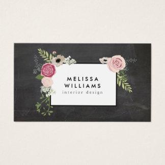 Vintages modernes Blumenmotiv auf Tafel-Designer Visitenkarte