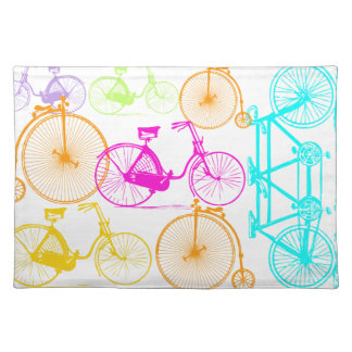 Vintages modernes Fahrrad-helles Farbneon-Muster Stofftischset