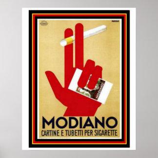 Vintages Modiano Zigaretten-Anzeigen-Plakat 16 x Poster
