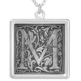 Vintages Monogramm M Versilberte Kette