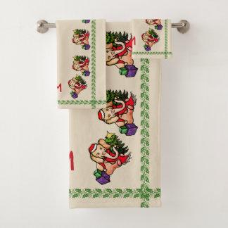 Vintages Monogramm-Sankt-Elefant-Weihnachten Badhandtuch Set
