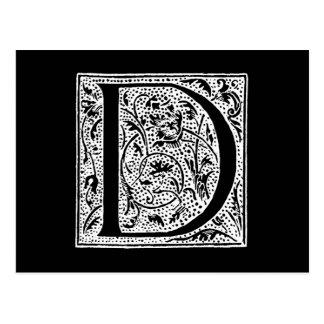 Vintages Monogramm-Schwarz-weiße d- Initialen Postkarte